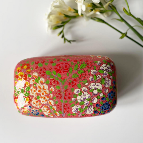 Peach floral Paper mache box with white, blue flower patterns