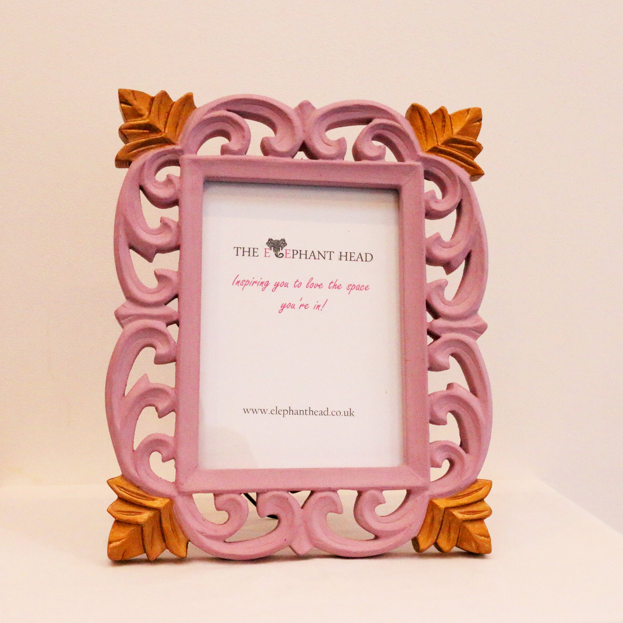 Pink and vintage gold picture frame front view