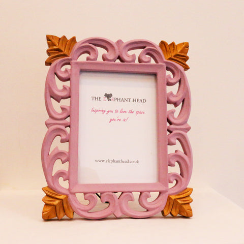 Carved picture frame-blush pink and vintage gold
