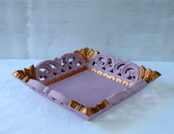 pink antique gold tray side view