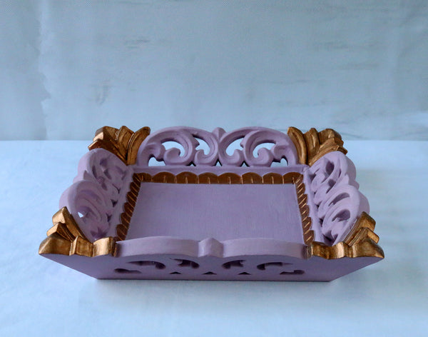 Pink antique gold tray front view