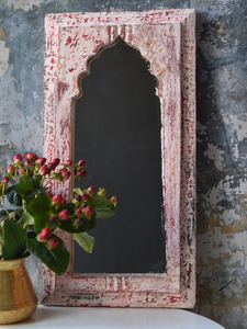 Rustic pink, red and white mirror - 46.5 cm x 26.5 cm