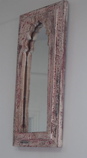 distressed pink, red and white dome shaped reclaimed wood mirror -side view