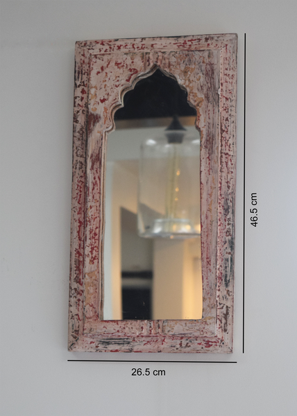 distressed pink, red and white dome shaped reclaimed wood mirror with measurements