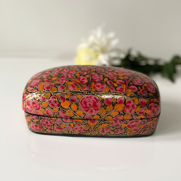 Pink and Orange Floral Paper Mache Box