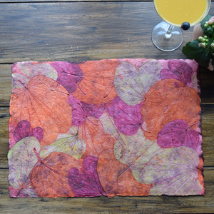 Pink, green and purple handmade paper tablemat