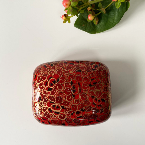 Red, black and Gold Paper Mache Box (Small)