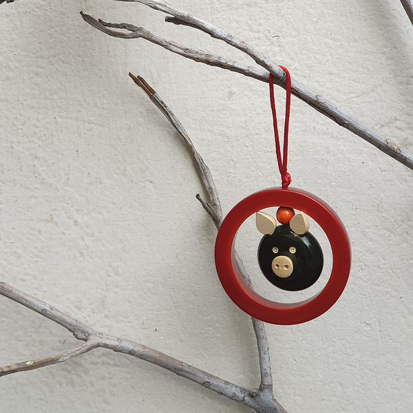 Red Oink-in-a-ring Christmas ornament