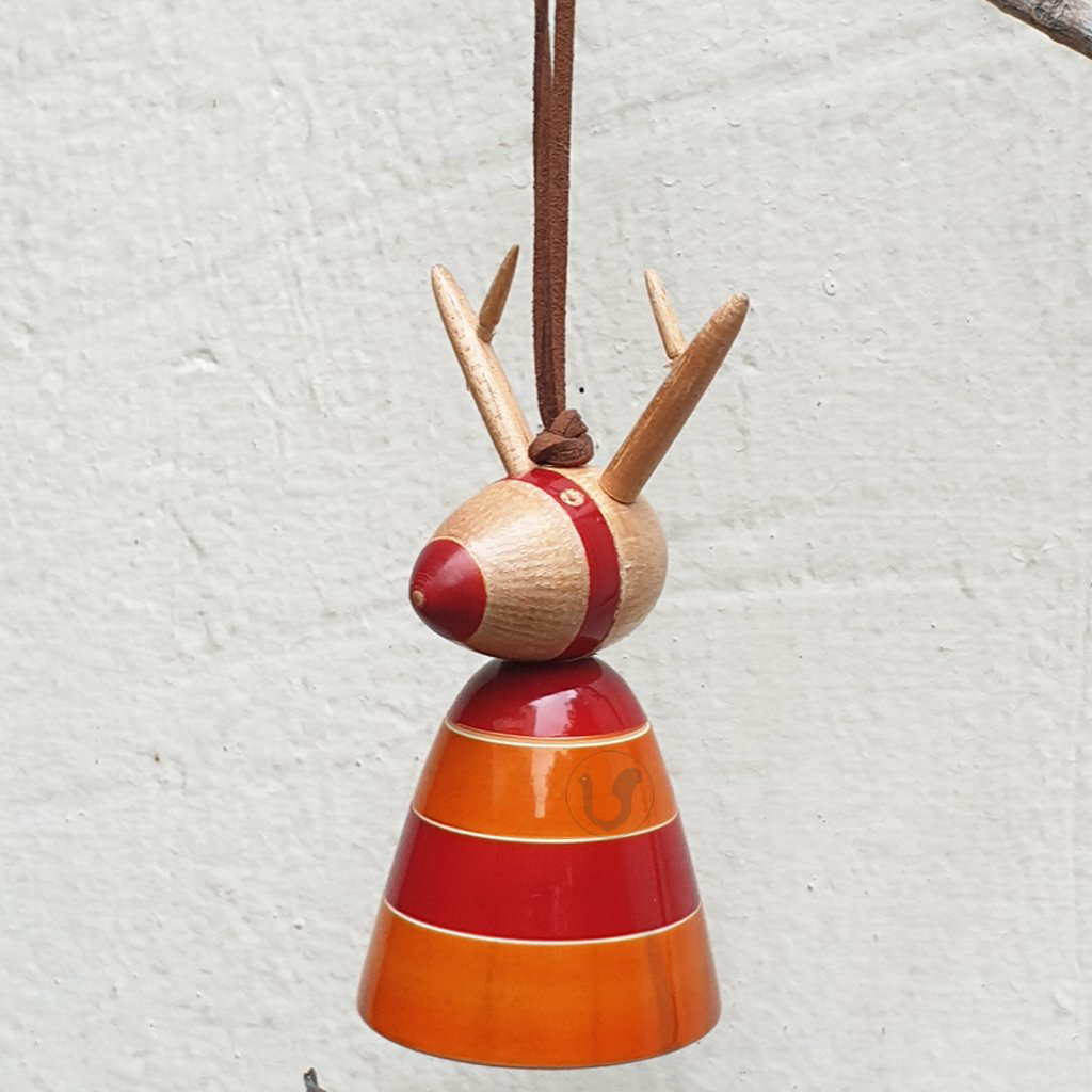 wooden Rudolph Christmas tree ornament