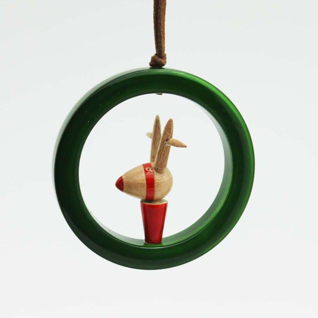 Green-Red Rudolph wooden ornament