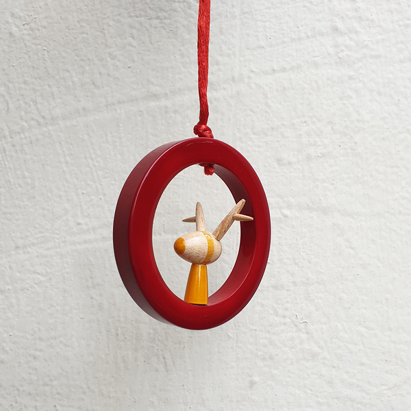 Red-Yellow wooden reindeer ornament