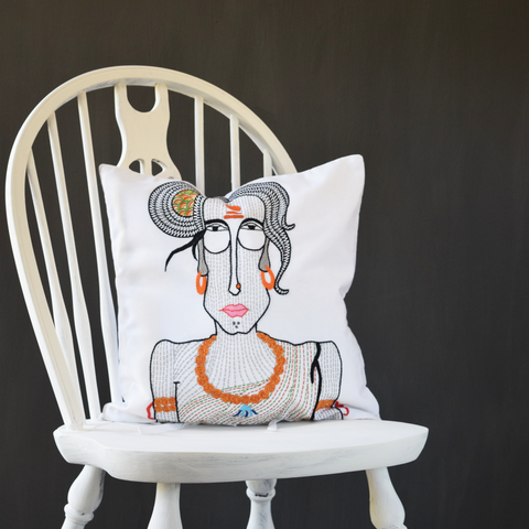 "Sadvi, Embroidered Cushion Cover 16"" x 16"""