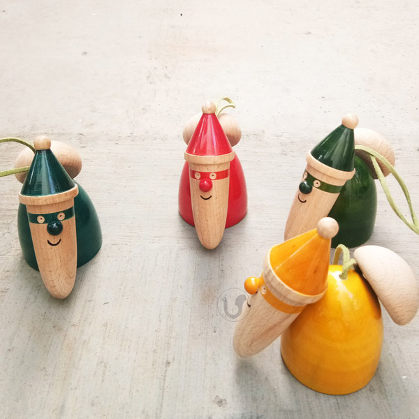 red, green, blue, yellow wooden Santa bells