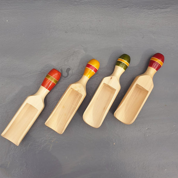 4 wooden scoops, orange, red, green and yellow