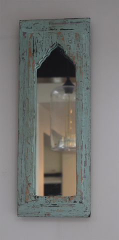 Rustic sea green distressed mirror