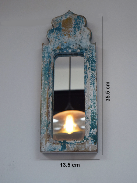 distressed blue mirror with measurements