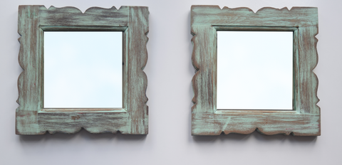 Pair of rustic mint distressed mirrors -23 cm x 23 cm