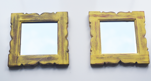 Pair of rustic yellow distressed mirrors -23 cm x 23 cm