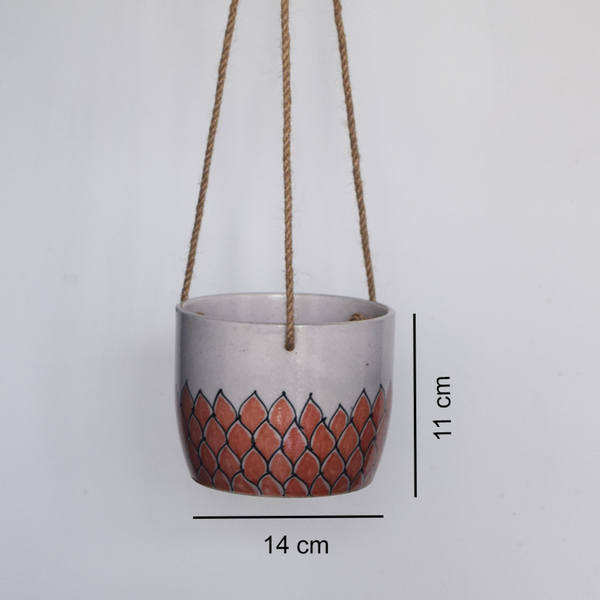 Phool, terracotta and white floral patterned hanging planter with measurements