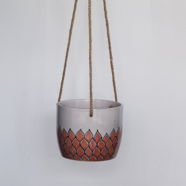 Phool, terracotta and white floral patterned hanging planter