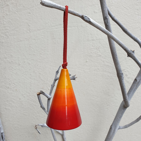 red-yellow conical Christmas Bell