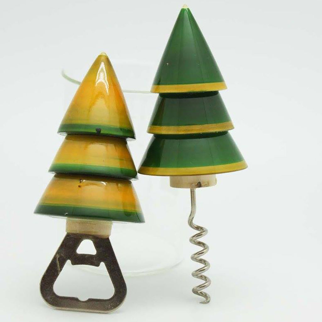 Xmas tree-shaped wooden bottle openers