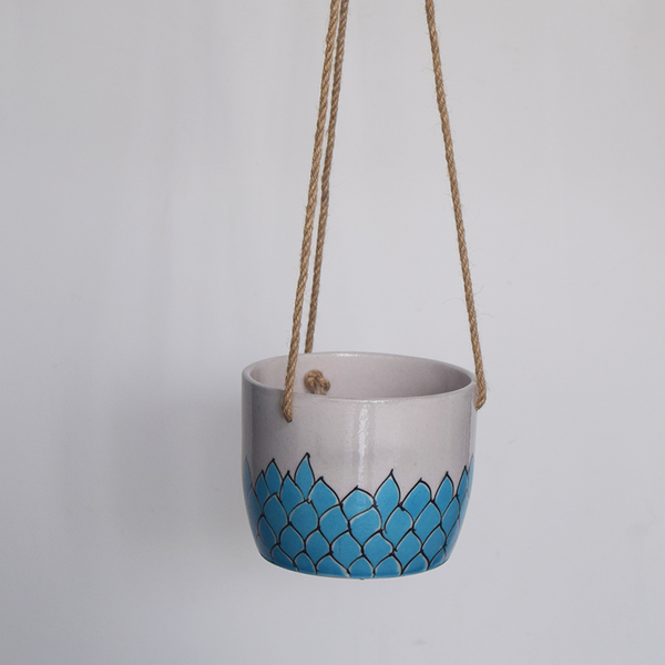 Phool, turquoise and white floral patterned hanging planter