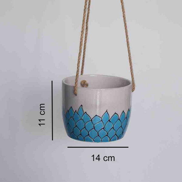 Phool, turquoise and white floral patterned hanging planter -with measurements