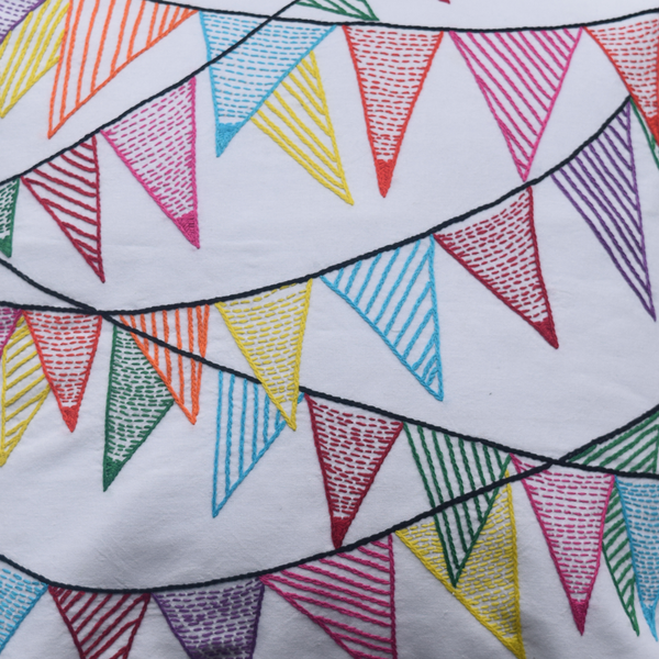 Colourful bunting cushion embroidery details