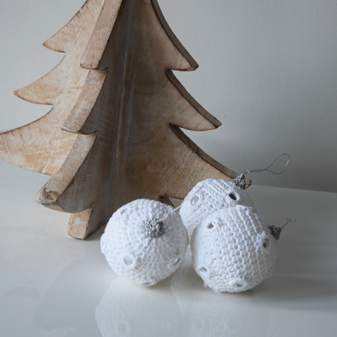 White Crochet Christmas Baubles with Mirrors