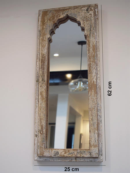 white minaret shaped distressed mirror with measurements