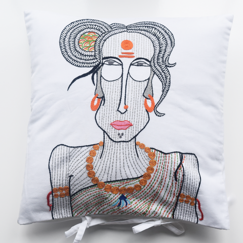 Sadvi, lady monk with black and orange embroidery on white background