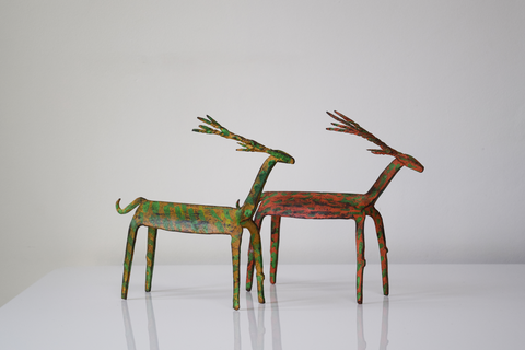 Wrought iron deer pair- orange and yellow
