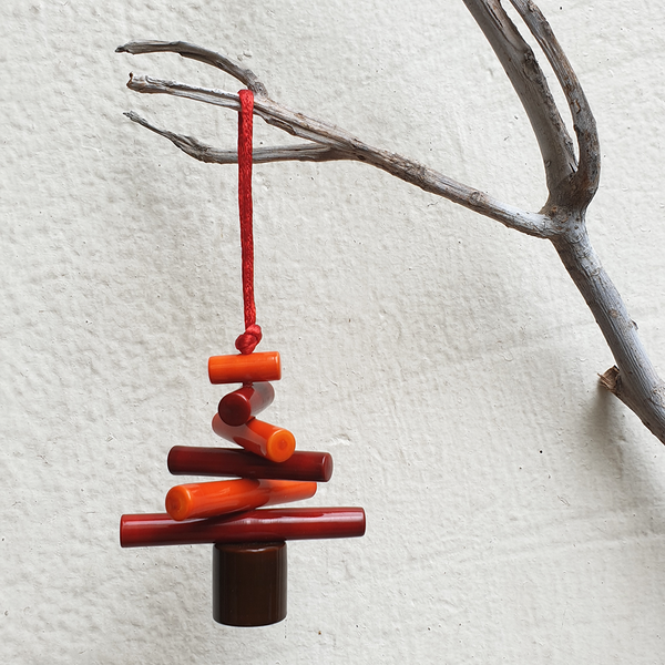 Red and Orange Christmas tree decoration