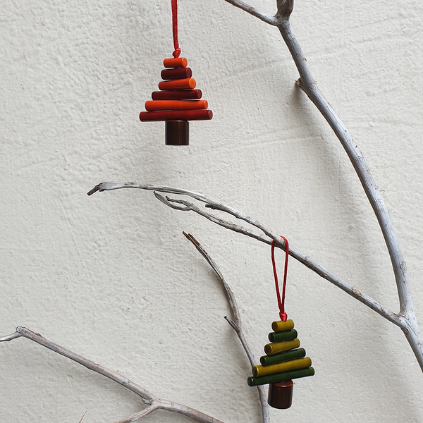 Red, orange and Green Christmas tree decorations