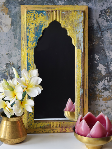 Rustic yellow and blue distressed mirror - 46 cm x 24 cm