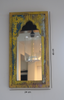Rustic yellow and blue distressed mirror with measurements
