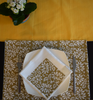 Mustard and brown block printed table runner -186 cm x 32 cm