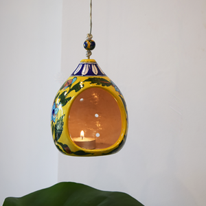 yellow floral hanging tealight holder