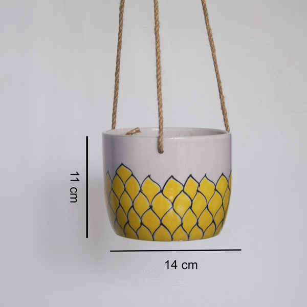 Phool, yellow and white floral patterned hanging planter -with measurements