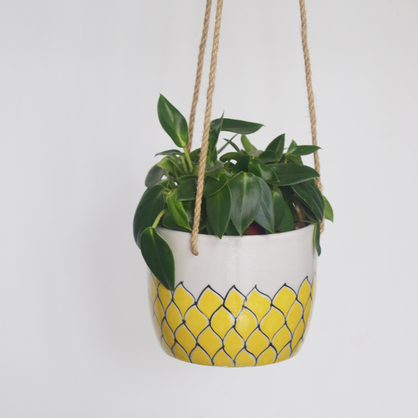 Phool, yellow and white floral patterned hanging planter