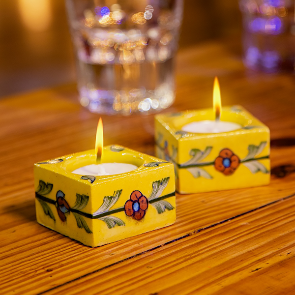 yellow square floral tealight holders