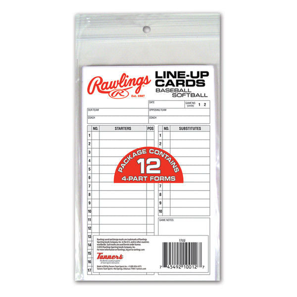 Rawlings System-17 Line-Up Cards Refill Pack (12 cards) | allstarptc.shop