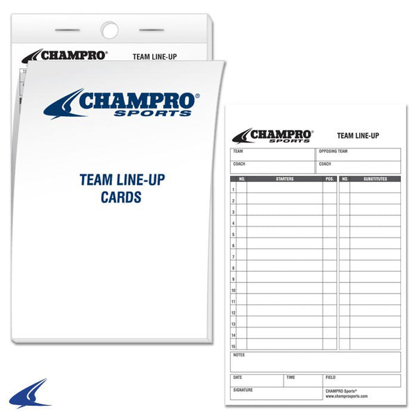 Champro Team Line-Up Cards (25 Cards) | allstarptc.shop