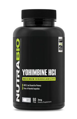 NutraBio Labs Yohimbine HCL (3mg) 90 Vegetable Capsules 90sv