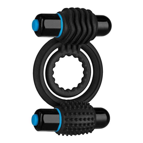 OptiMale Vibrating Double Silicone C-Ring with dual bullets - Black Sexual Enhancers Doc Johnson Enterprises