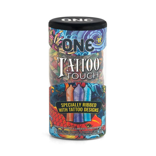 One Tattoo Touch - Ribbed with Tattoo Designs - Latex Condoms 12 Pack Condoms Global Protection Corp