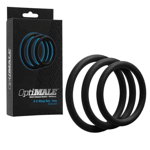 OptiMale Silicone 3 C-Ring Set Thin - Black Sexual Enhancers Doc Johnson Enterprises