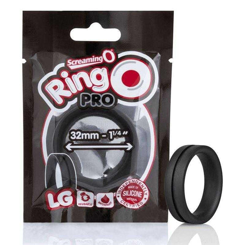 Screaming O Ring O Pro Large - Black Silicone Ring Adult Toys Screaming O