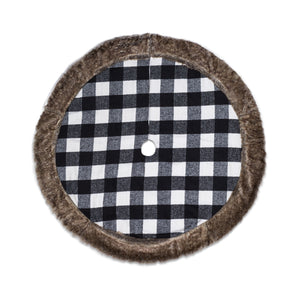 White And Black Cabin Blanket Tree Skirt With Faux Fur Trim